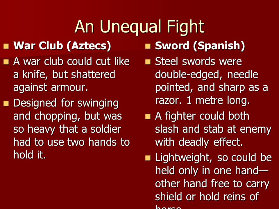 An Unequal Fight War Club (Aztecs)