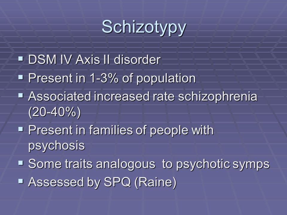 Schizotypy DSM IV Axis II disorder Present in 1-3% of population