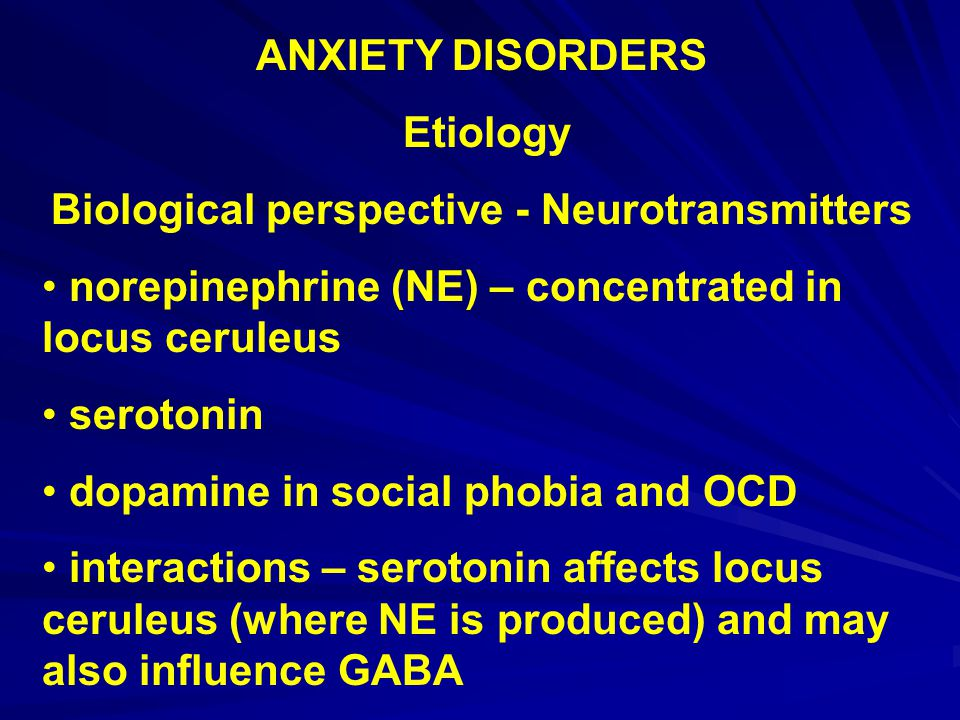 Biological perspective - Neurotransmitters