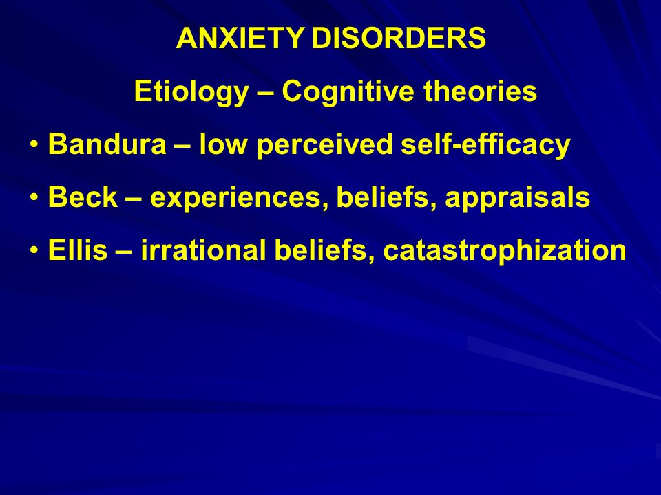 Etiology – Cognitive theories