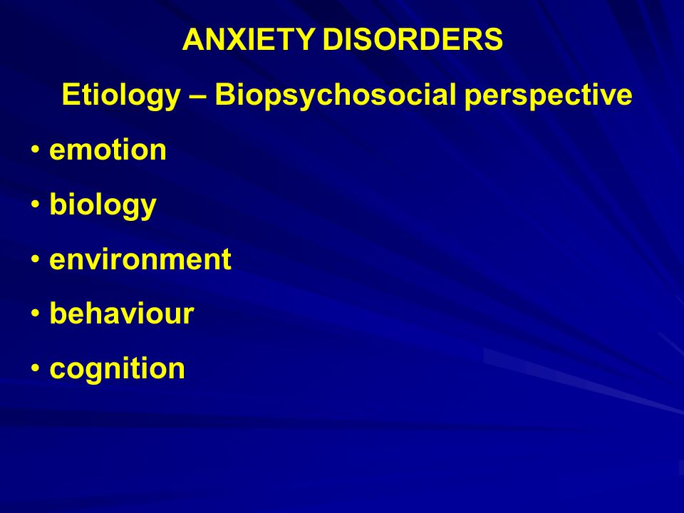 Etiology – Biopsychosocial perspective