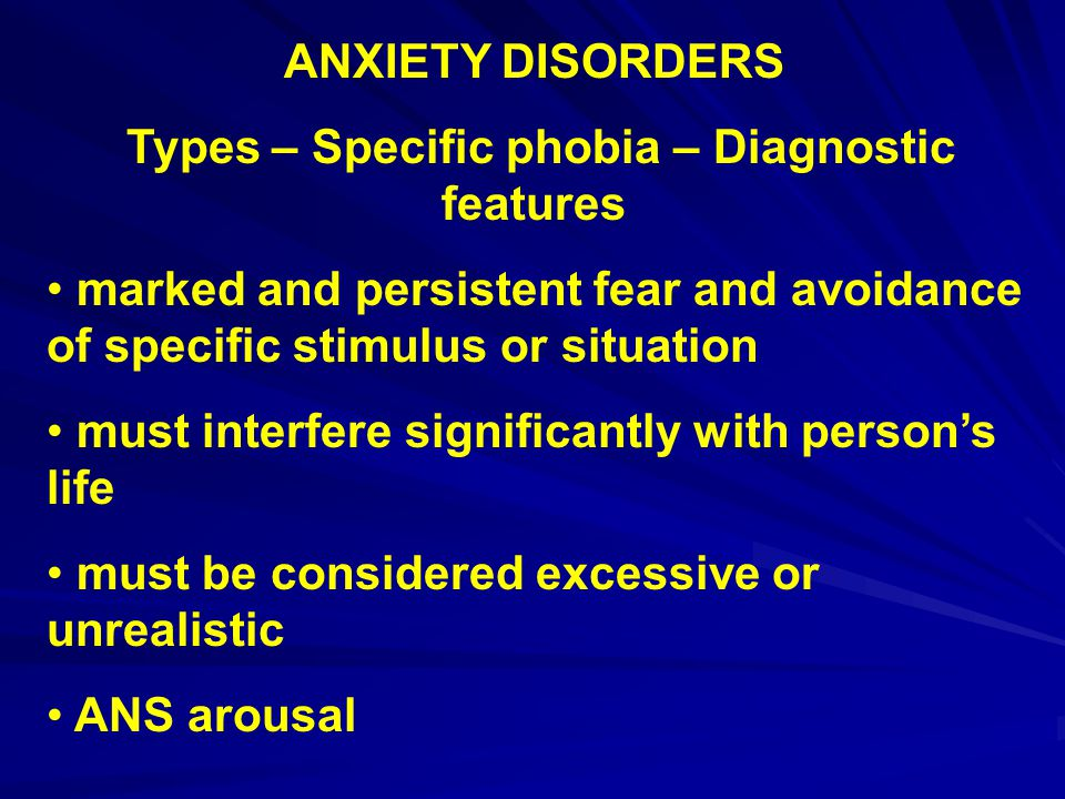 Types – Specific phobia – Diagnostic features