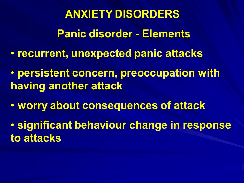 Panic disorder - Elements