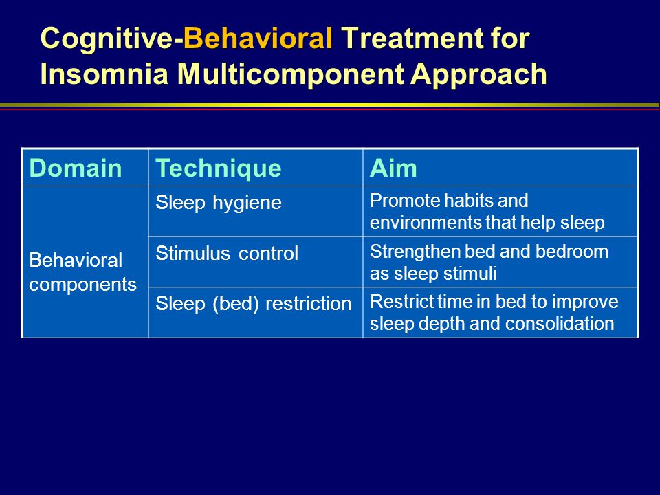 Cognitive-Behavioral Treatment for Insomnia Multicomponent Approach