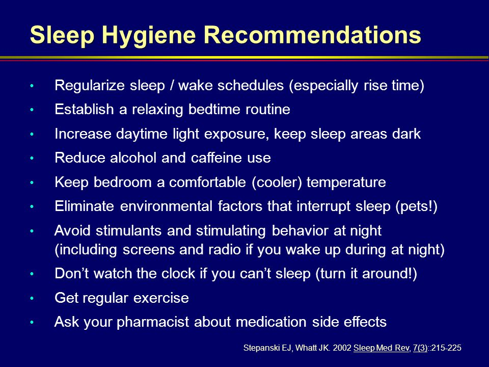 Sleep Hygiene Recommendations