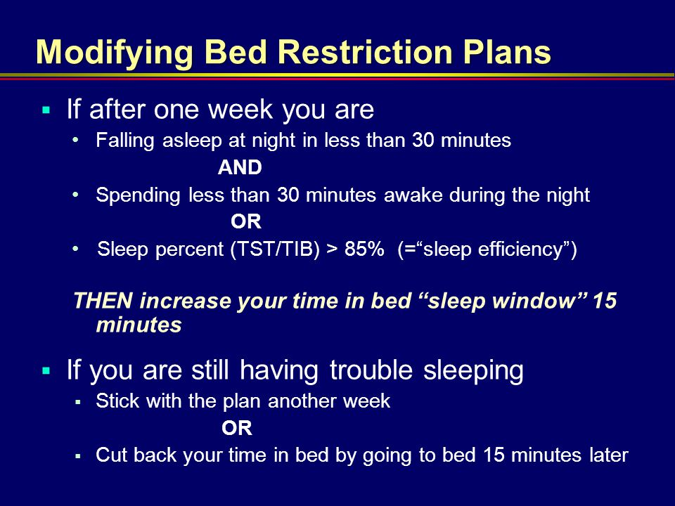 Modifying Bed Restriction Plans