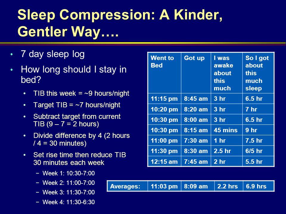 Sleep Compression: A Kinder, Gentler Way….