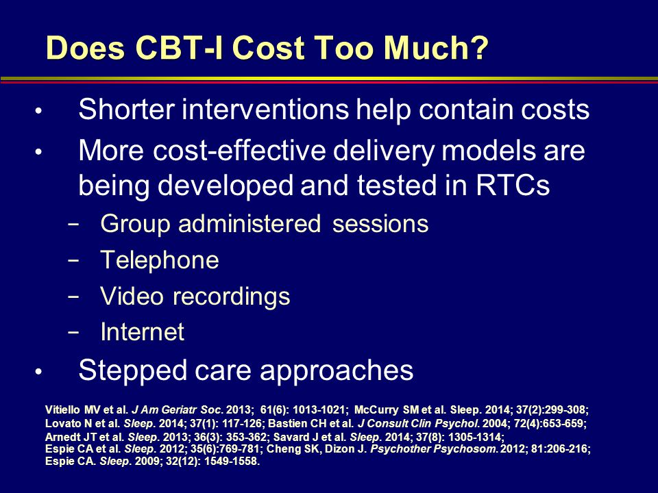 Does CBT-I Cost Too Much