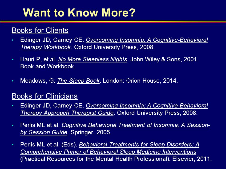 Want to Know More Books for Clients Books for Clinicians