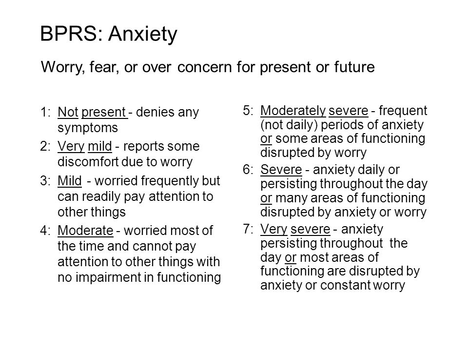 BPRS: Anxiety Worry, fear, or over concern for present or future