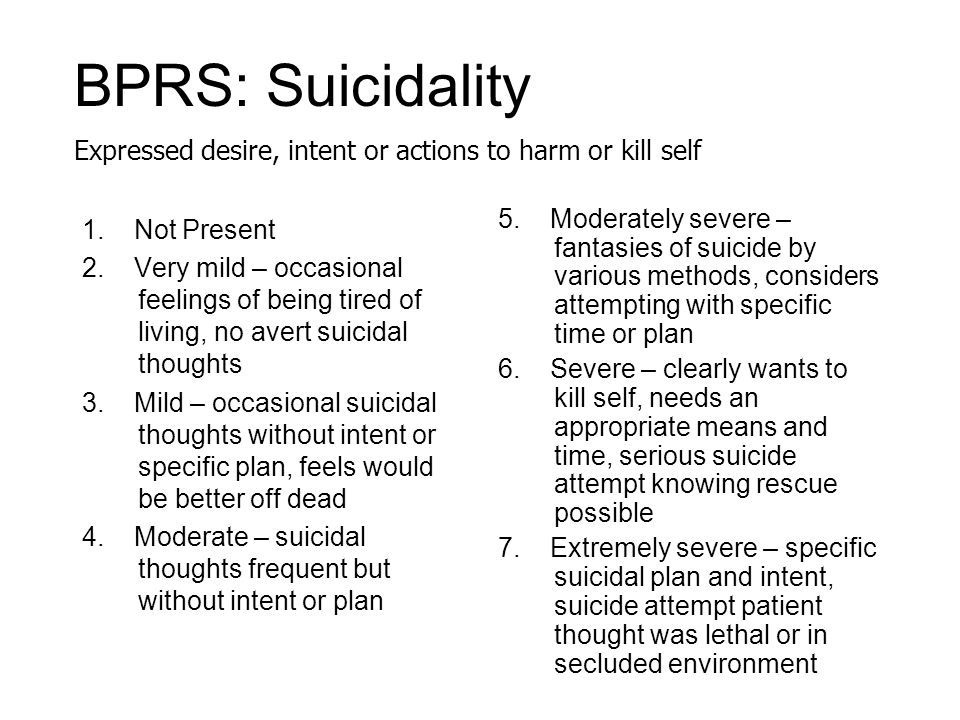 BPRS: Suicidality Expressed desire, intent or actions to harm or kill self.