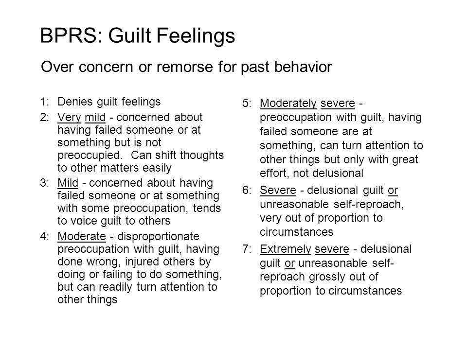 BPRS: Guilt Feelings Over concern or remorse for past behavior