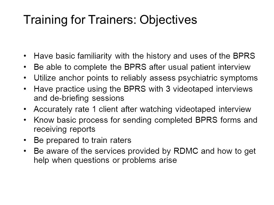Training for Trainers: Objectives