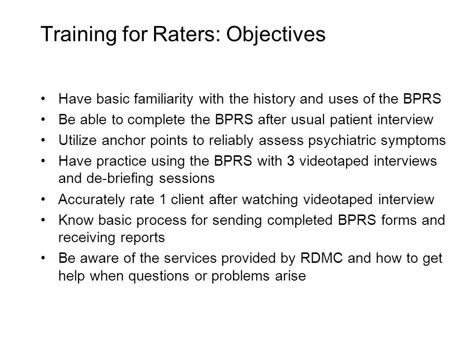 Training for Raters: Objectives