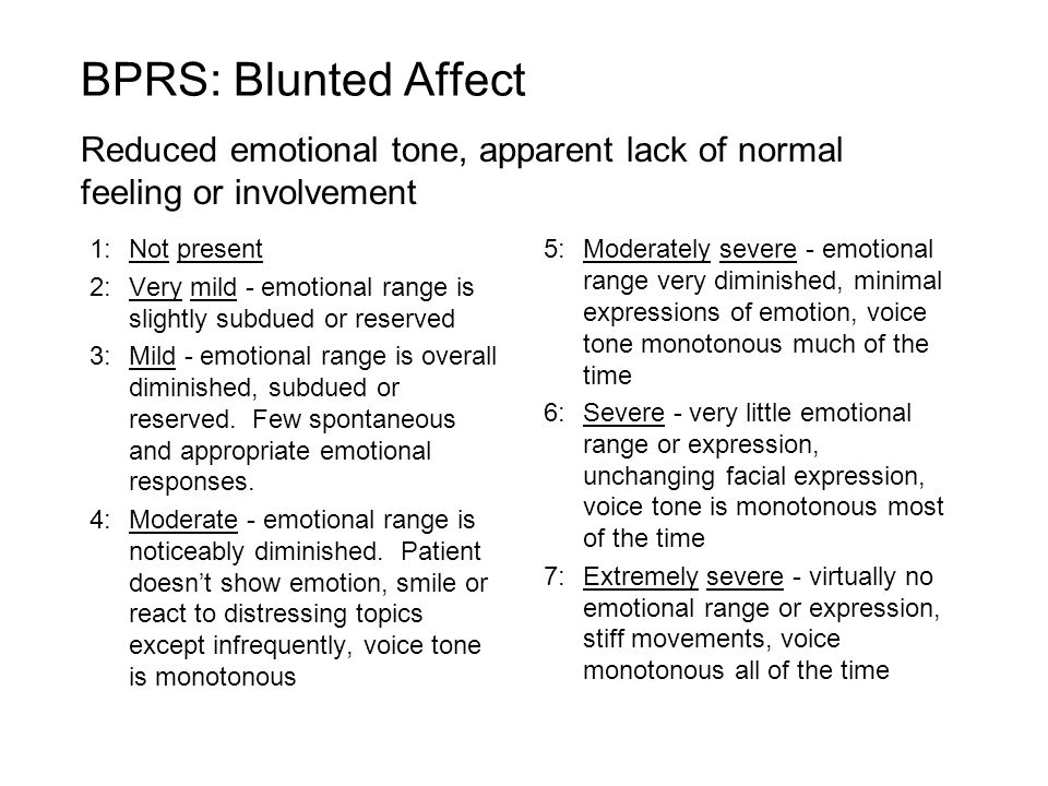 BPRS: Blunted Affect Reduced emotional tone, apparent lack of normal feeling or involvement. 1: Not present.
