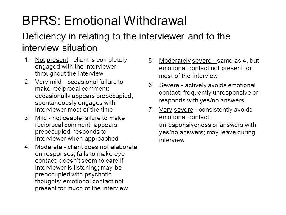 BPRS: Emotional Withdrawal