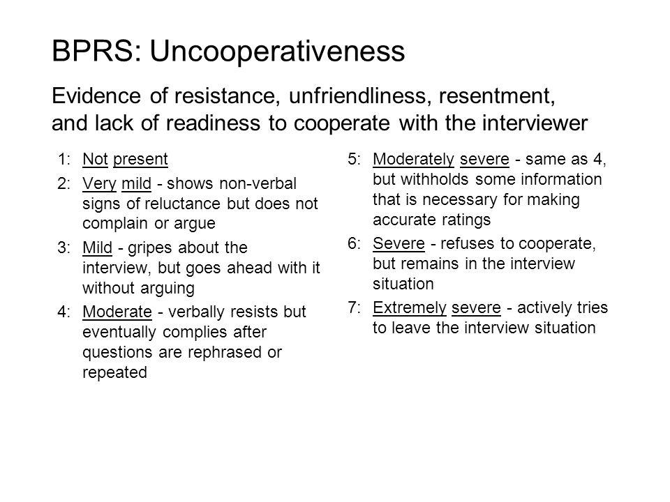 BPRS: Uncooperativeness