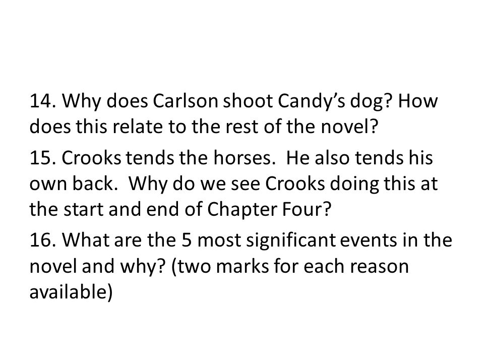 14. Why does Carlson shoot Candy's dog