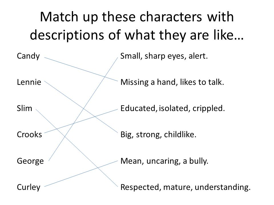 Match up these characters with descriptions of what they are like…