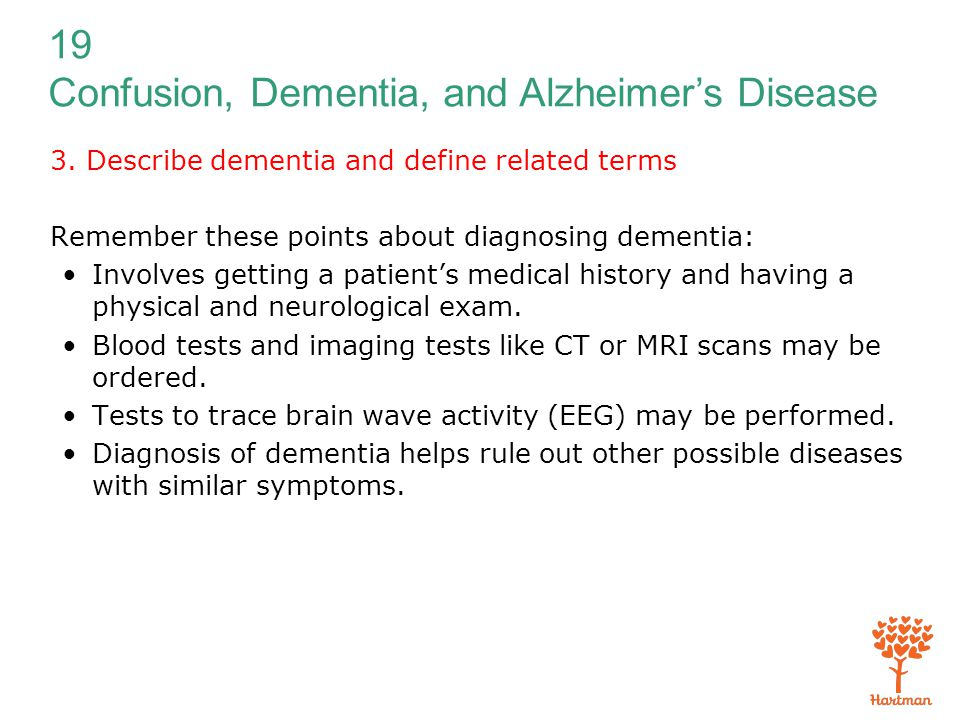3. Describe dementia and define related terms