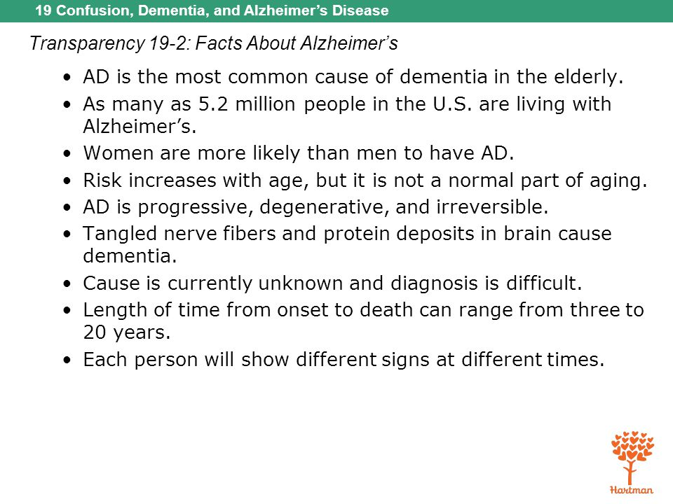 Transparency 19-2: Facts About Alzheimer's