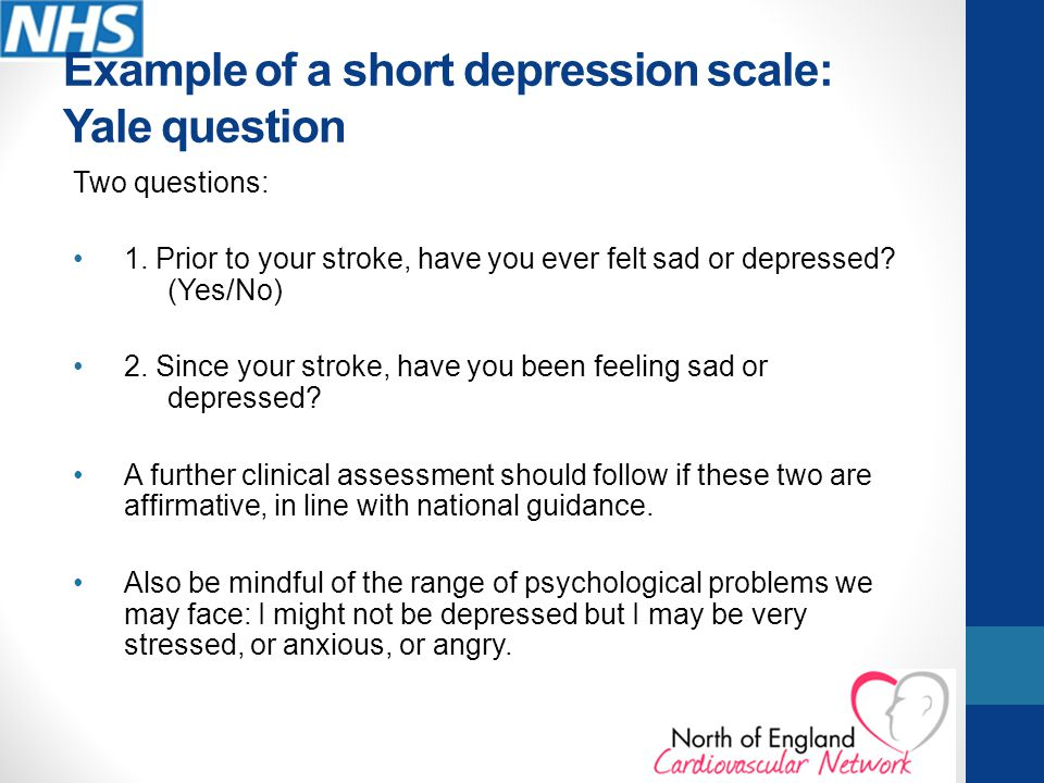 Example of a short depression scale: Yale question