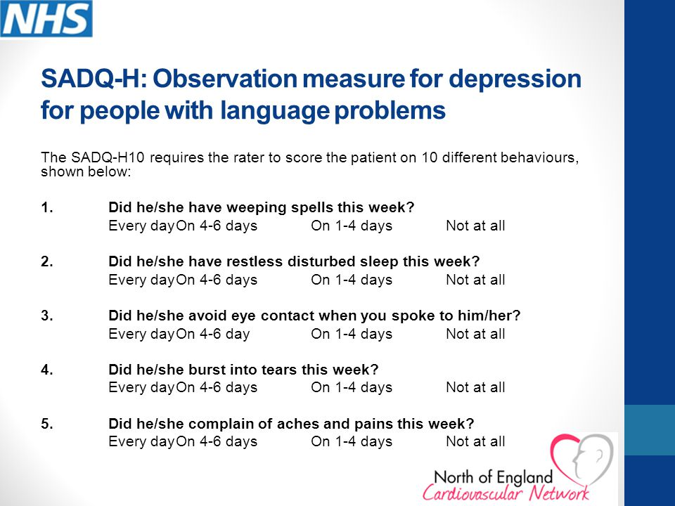 SADQ-H: Observation measure for depression for people with language problems