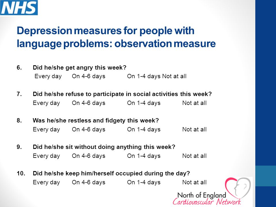 Depression measures for people with language problems: observation measure