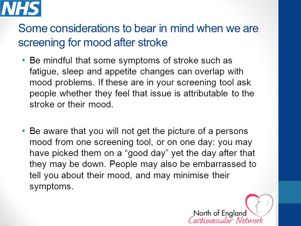 Some considerations to bear in mind when we are screening for mood after stroke