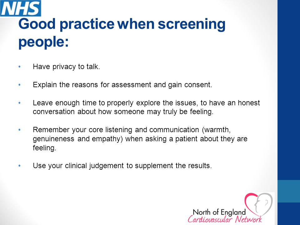 Good practice when screening people: