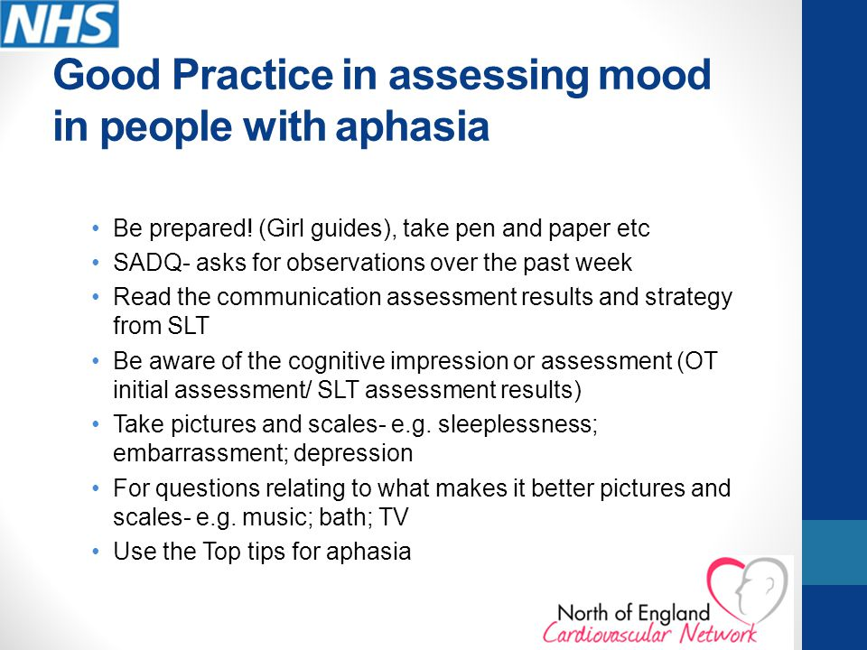 Good Practice in assessing mood in people with aphasia
