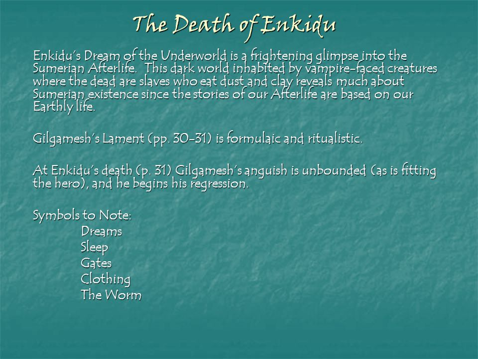 The Death of Enkidu