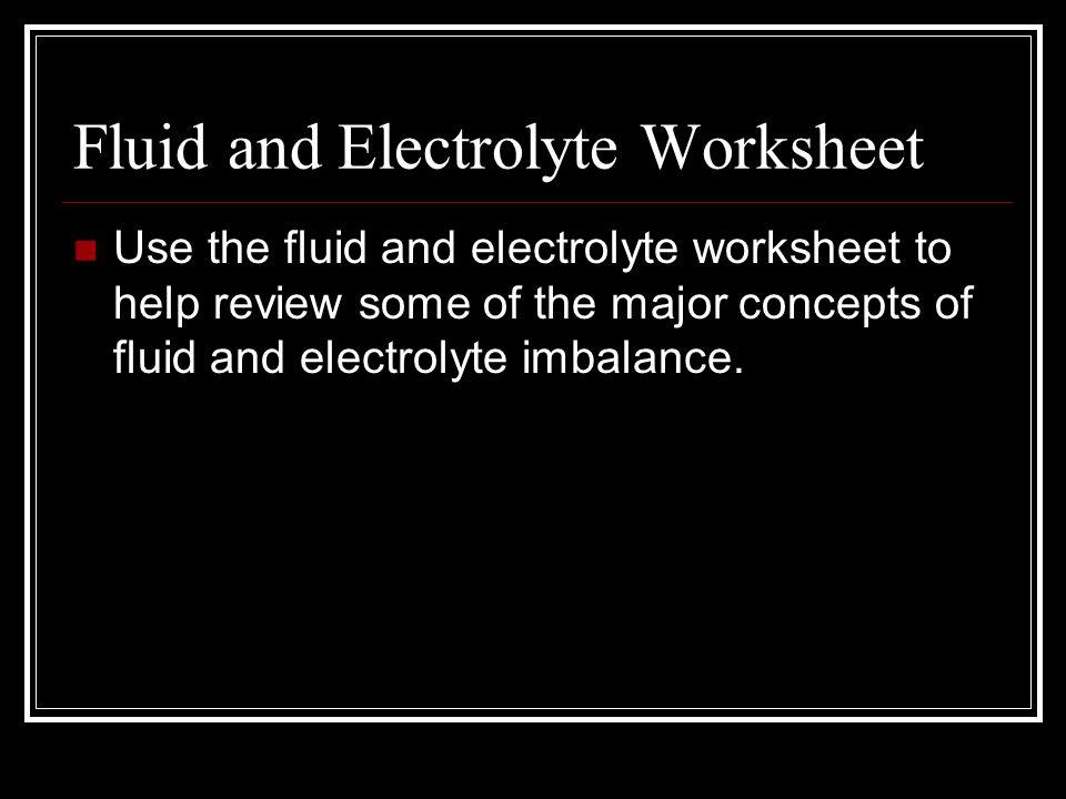 Fluid and Electrolyte Worksheet