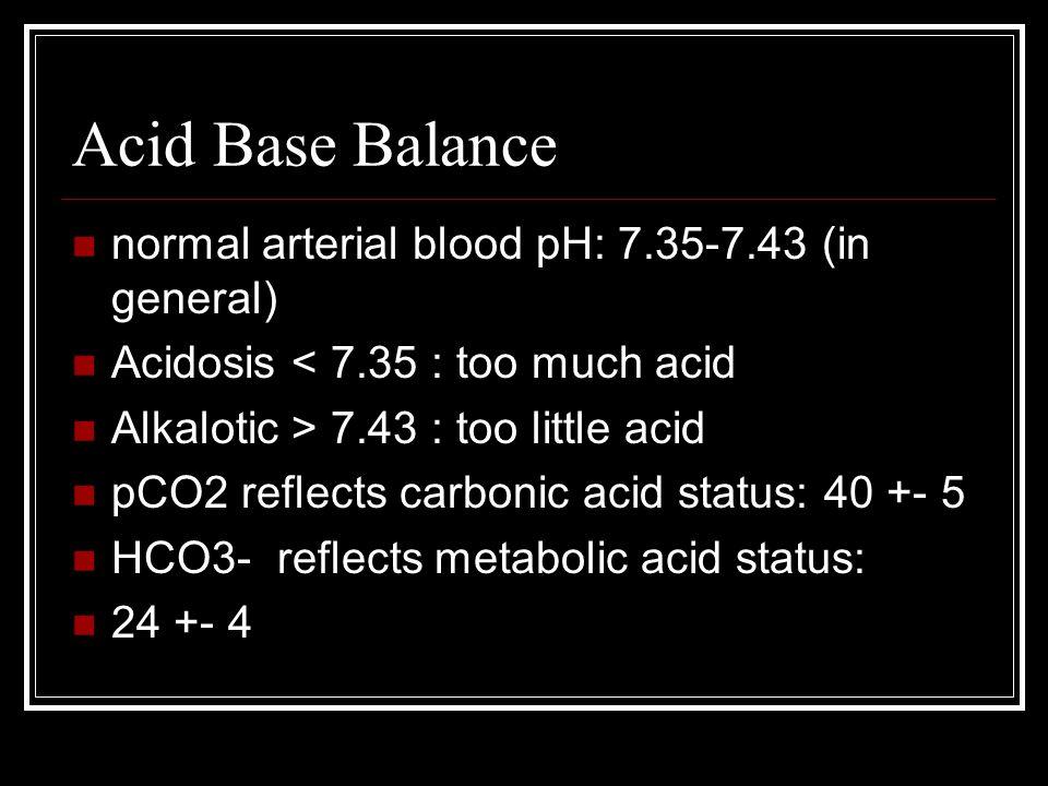 Acid Base Balance normal arterial blood pH: 7.35-7.43 (in general)