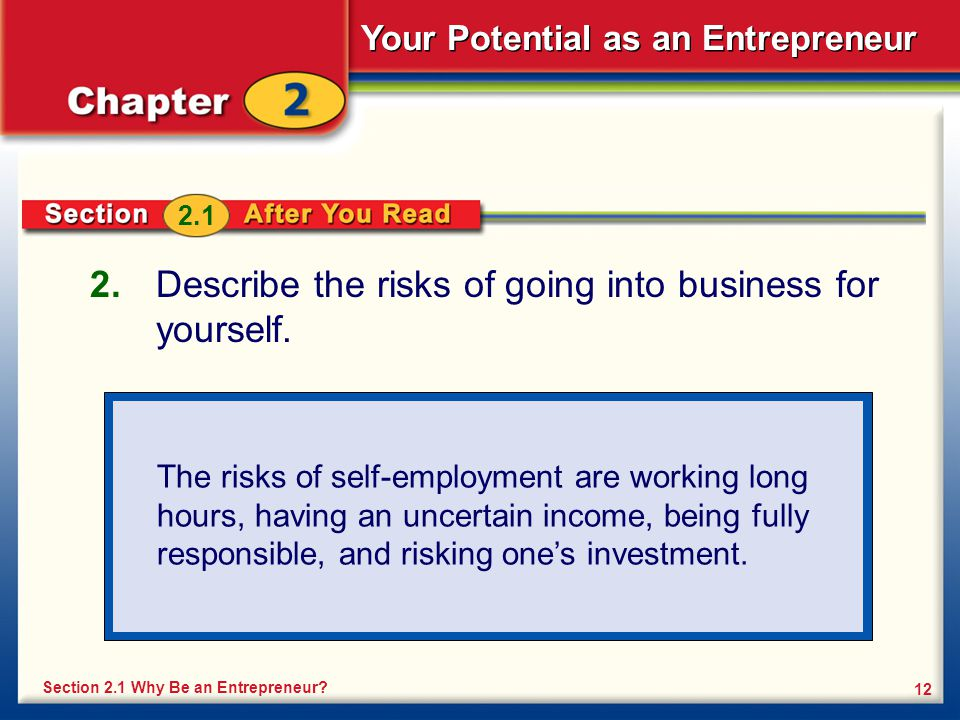 Describe the risks of going into business for yourself.