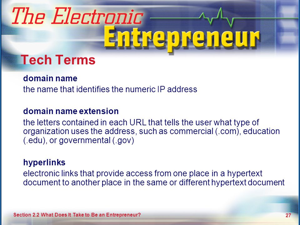 Tech Terms domain name the name that identifies the numeric IP address