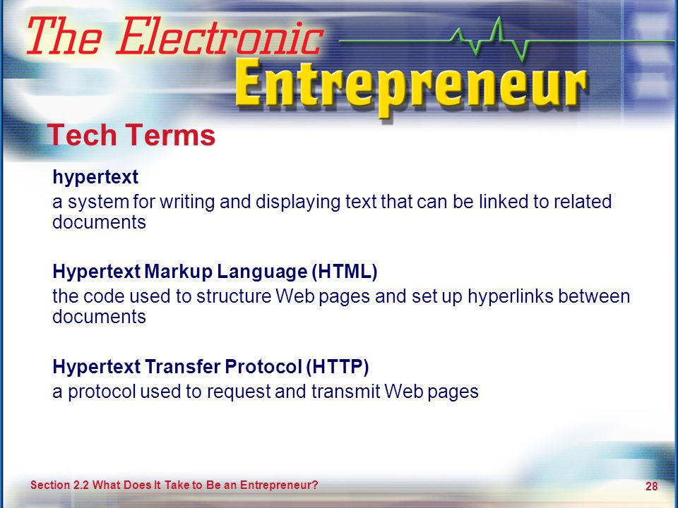 Tech Terms hypertext. a system for writing and displaying text that can be linked to related documents.