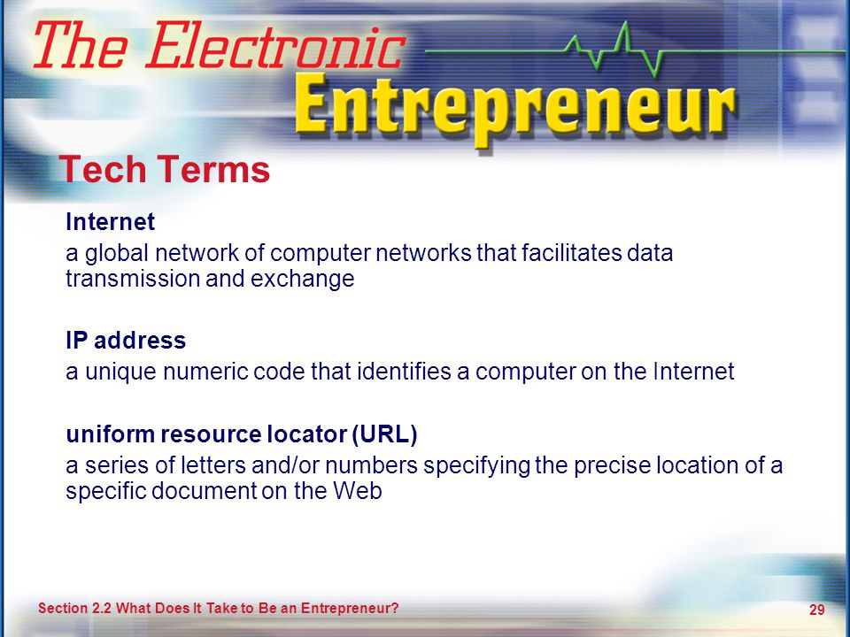 Tech Terms Internet. a global network of computer networks that facilitates data transmission and exchange.