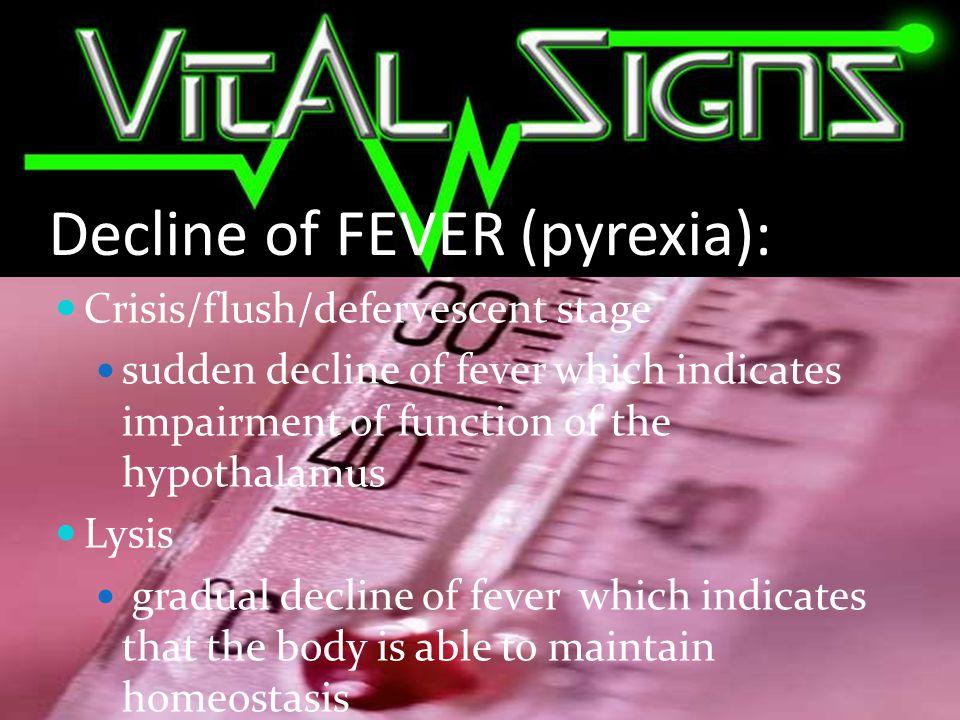 Decline of FEVER (pyrexia):