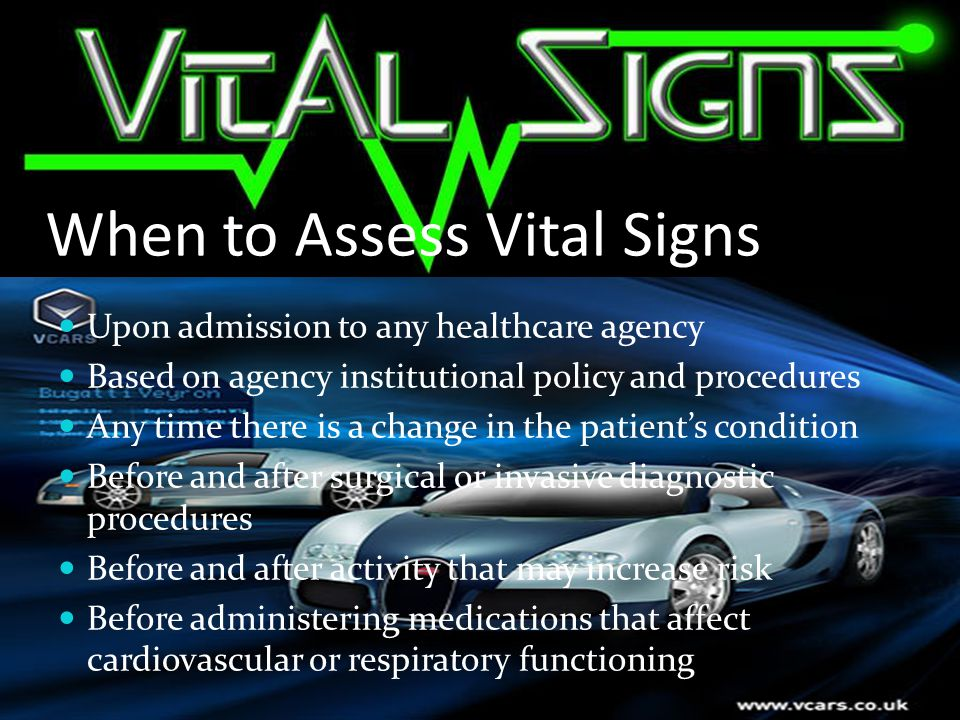 When to Assess Vital Signs