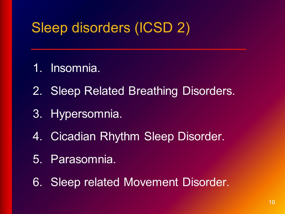 Sleep disorders (ICSD 2) ___________________________