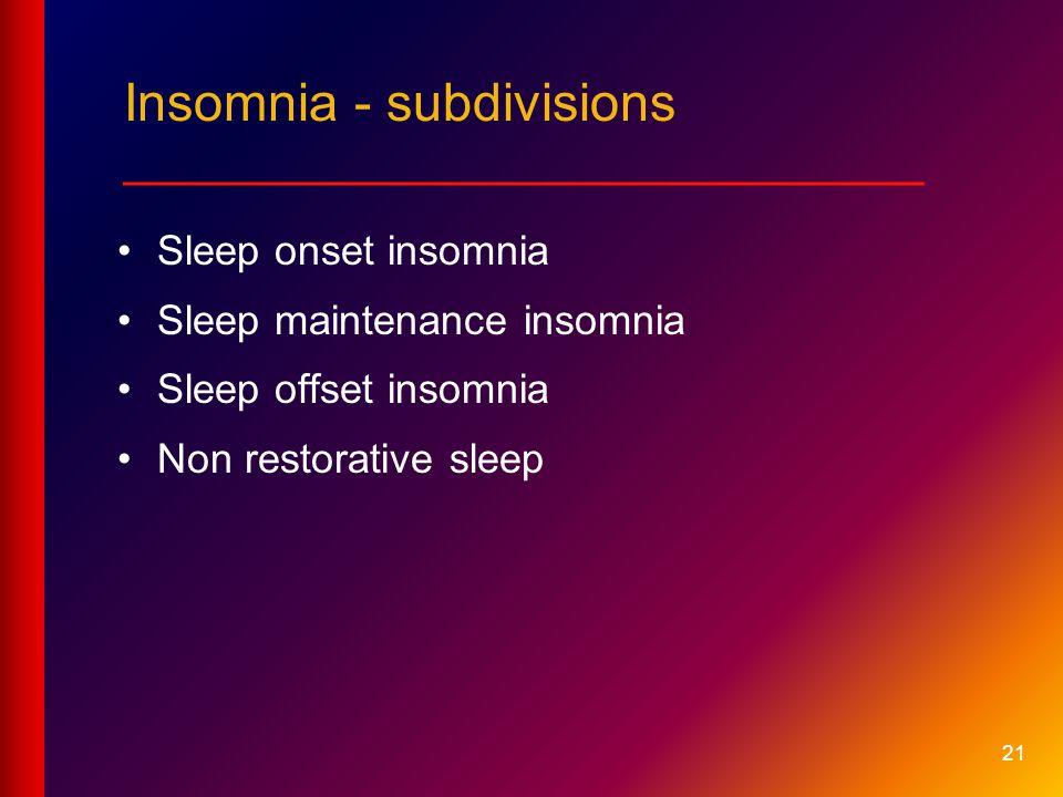 Insomnia - subdivisions ___________________________