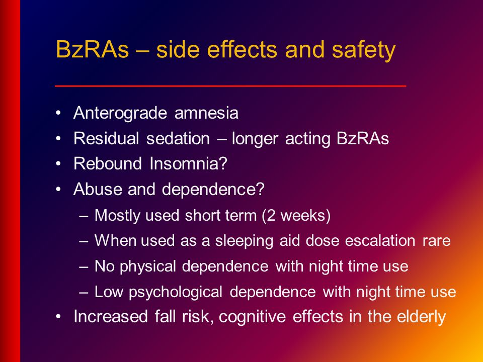 BzRAs – side effects and safety __________________________