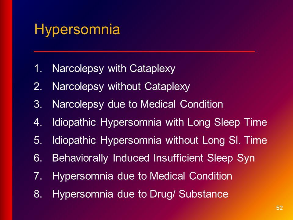 Hypersomnia ___________________________