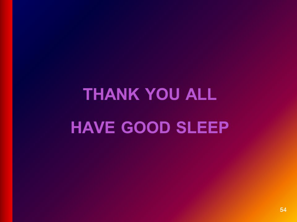Thank you all Have good sleep