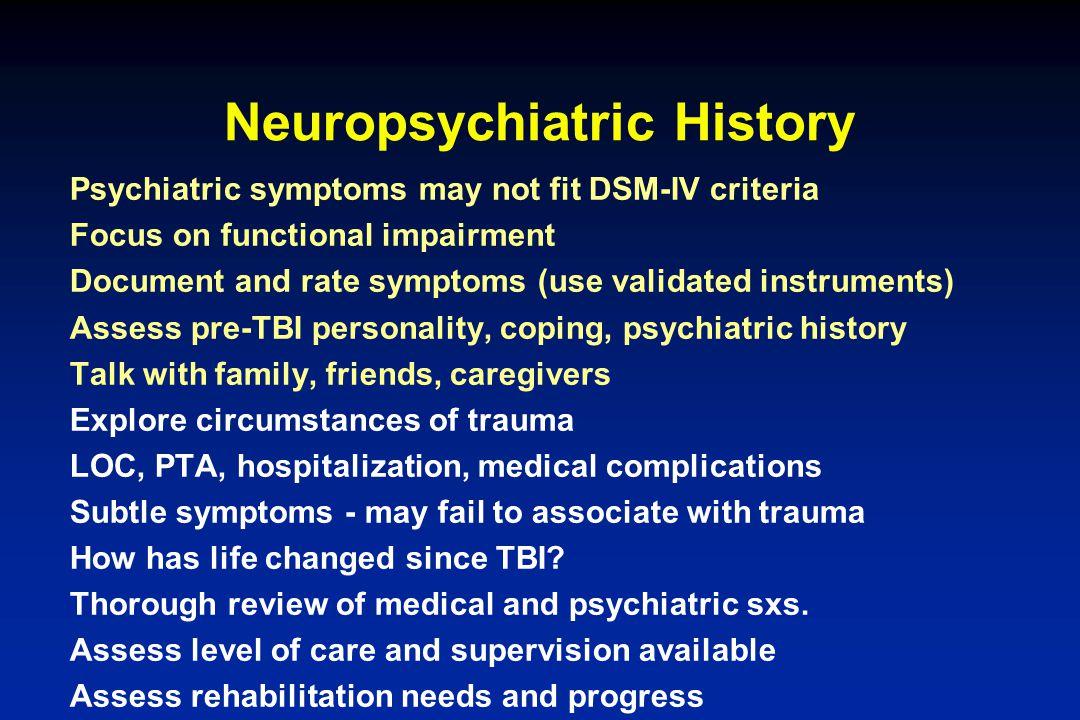 Neuropsychiatric History
