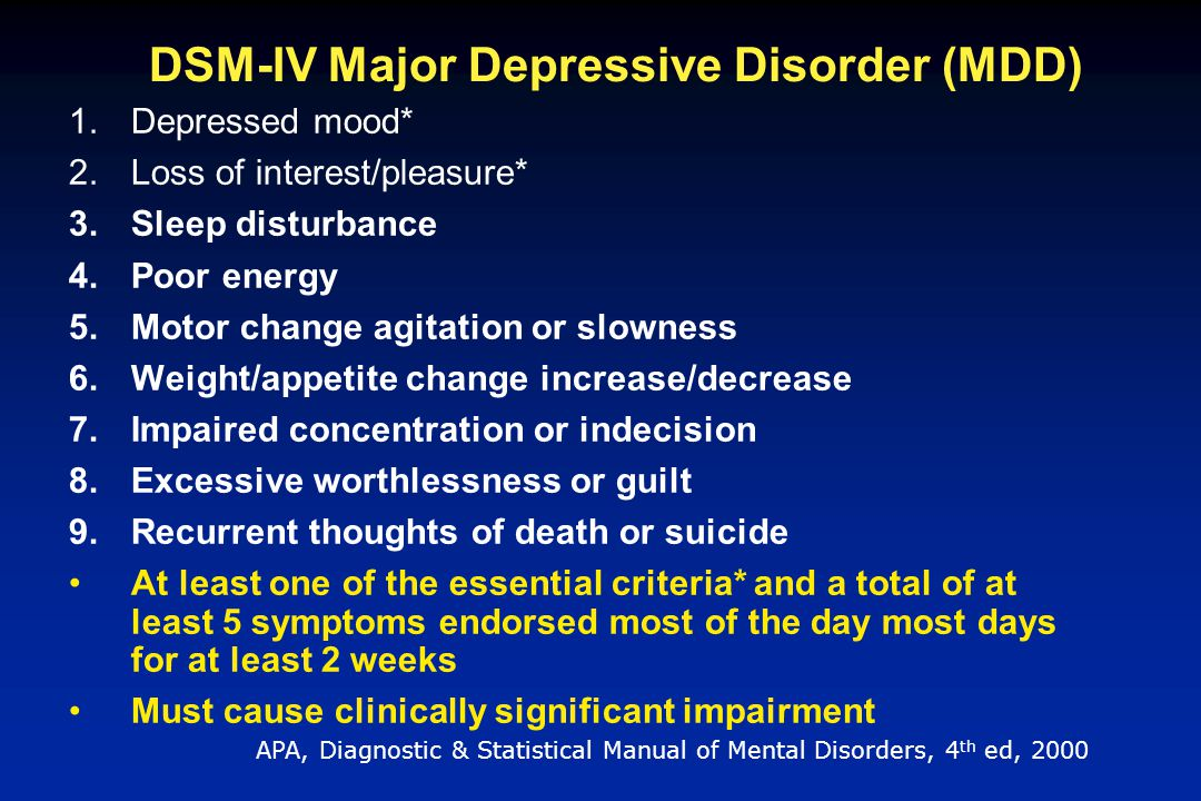 DSM-IV Major Depressive Disorder (MDD)