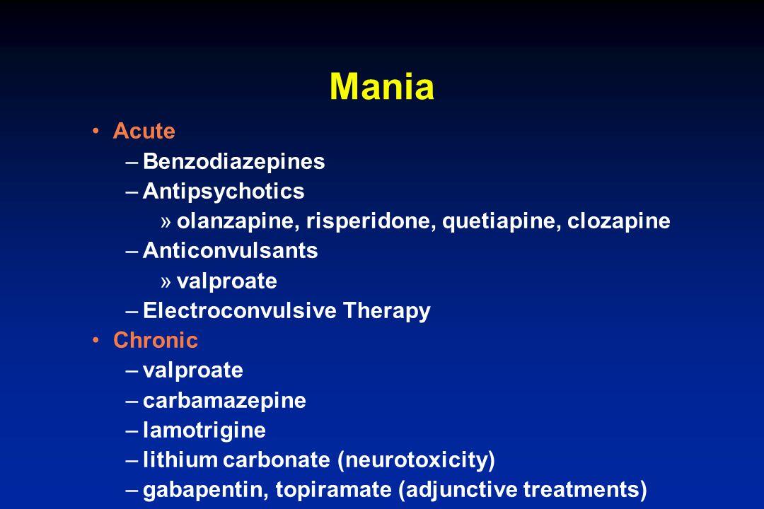 Mania Acute Benzodiazepines Antipsychotics