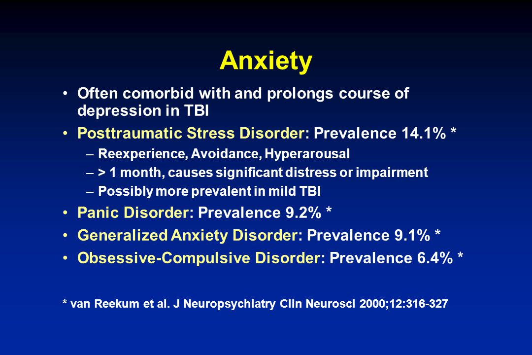 Anxiety Often comorbid with and prolongs course of depression in TBI