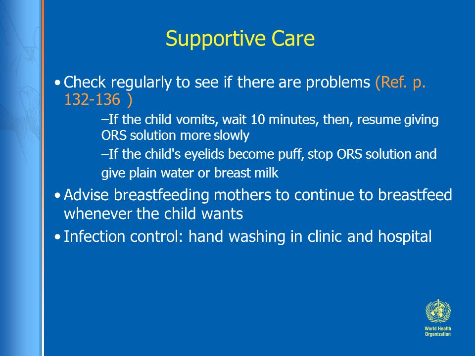 Supportive Care Check regularly to see if there are problems (Ref. p. 132-136 )